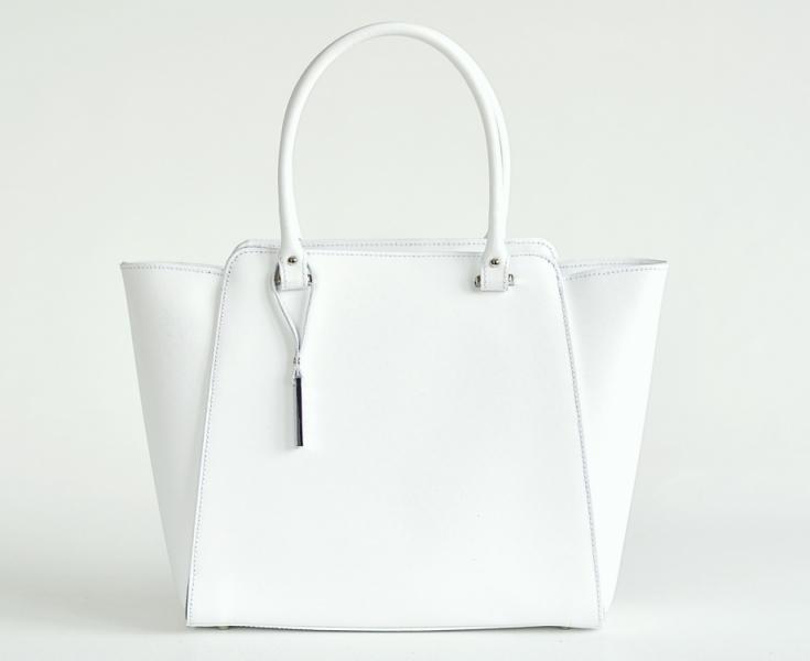 e1fc2c69a06 doprava zdarma Bright Elegantní kožená kabelka matná A4 do ruky bílá
