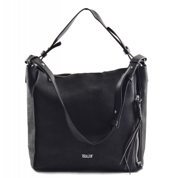 Bright Dámská kabelka A4 přes rameno mramorovaná rozšiřovatelná Expander Handbag černá