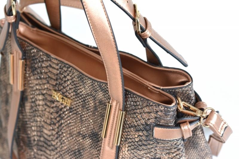 ... Bright Krásná kabelka přes rameno velká shopper A4 objemná bronzová ... 4e464f422a3