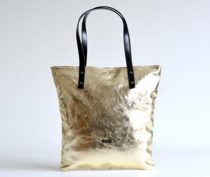 doprava zdarma Bright Fashion kabelka dámská kožená velká A4 lesklá L přes  rameno sv. zlatá 68192aa1471