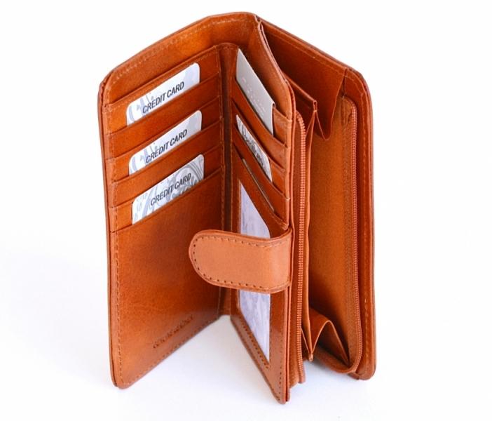 0e3bda0eb Dámská peněženka kožená na výšku vybavená se zipovou kapsou hnědá rezavá -  Dámská peněženka kožená na výšku vybavená se zipovou kapsou hnědá rezavá ...