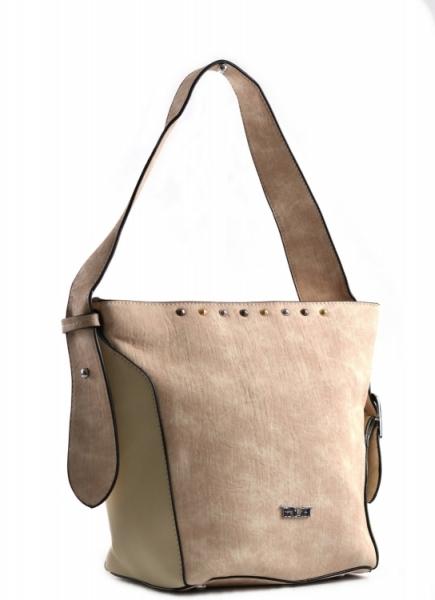Bright Dámská kabelka větší A5 přes rameno mramorovaná Handbag béžová