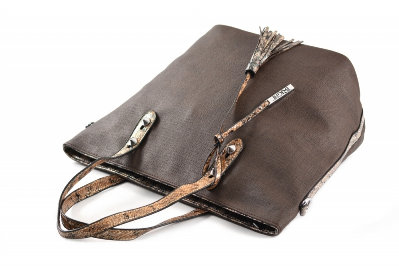 ... Bright Fashion kabelka A4 s hadím vzorem velká shopping bag hnědá ... ba4fa63e11e