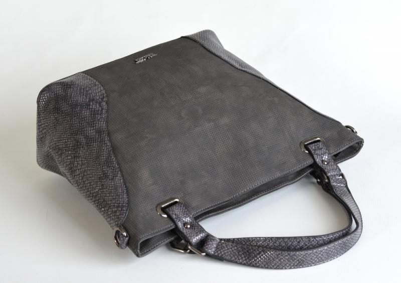 ... Bright Elegantní kabelka přes rameno velká shopper A4 objemná šedá ... 3060b064aac