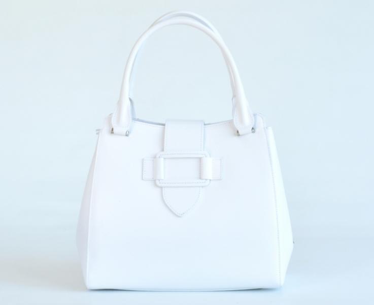 3f6601776a Bright Elegantní dámská kabelka kožená A4 do ruky perleťová bílá - Bright Elegantní  dámská kabelka kožená A4 do ruky perleťová bílá   DOMIbags.cz