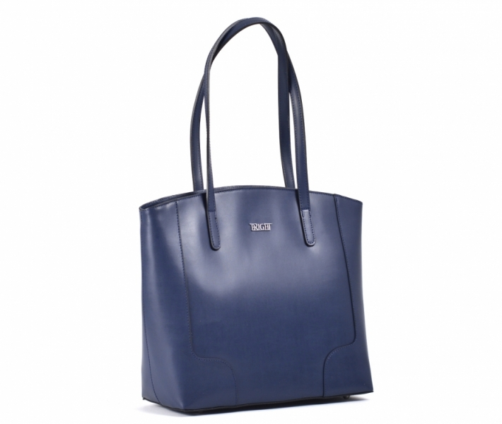 ae6d1593e2 Bright Elegantní kabelka kožená A4 hladká přes rameno modrá - Bright  Elegantní kabelka kožená A4 hladká přes rameno Handbag modrá   DOMIbags.cz