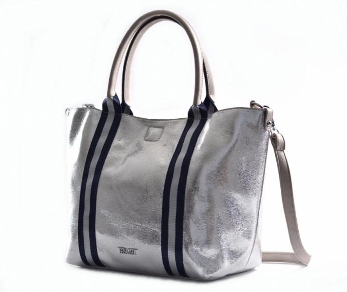 ... Bright Kabelka s vnitřní kapsou 2v1 dámská syntetická A4 Shopper  stříbrná ... fe77c7c6919