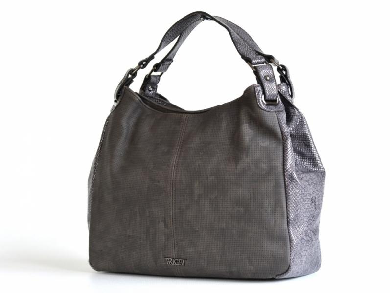 Bright Elegantní kabelka přes rameno velká A4 objemná šedá - Bright ... 7a5a126f851