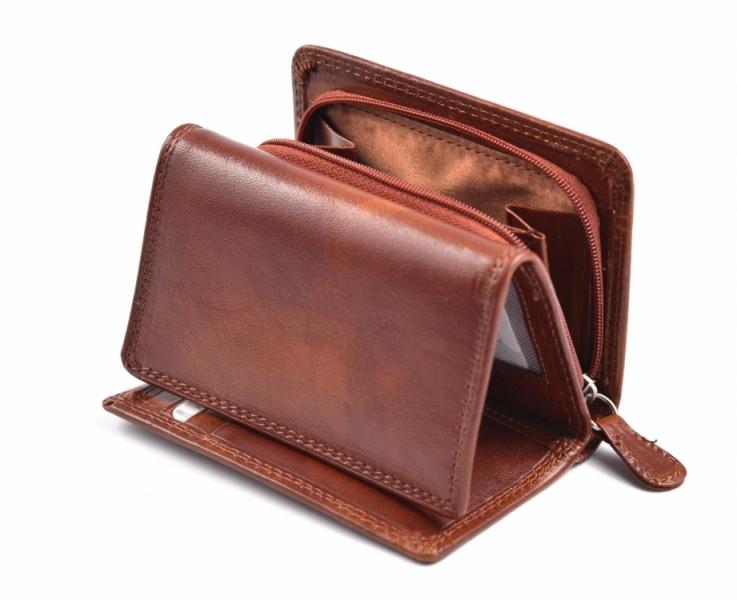 e4796c53c4d Dámská kožená peněženka na výšku menší se zipem na mince hnědá ...