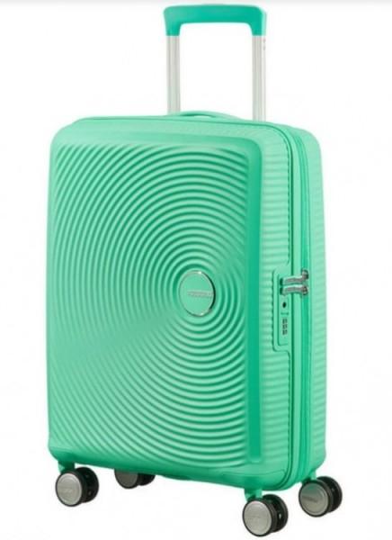 AMERICAN TOURISTER Kufr Soundbox na palubu Spinner 55/20 malý hard TSA Expander Deep mint