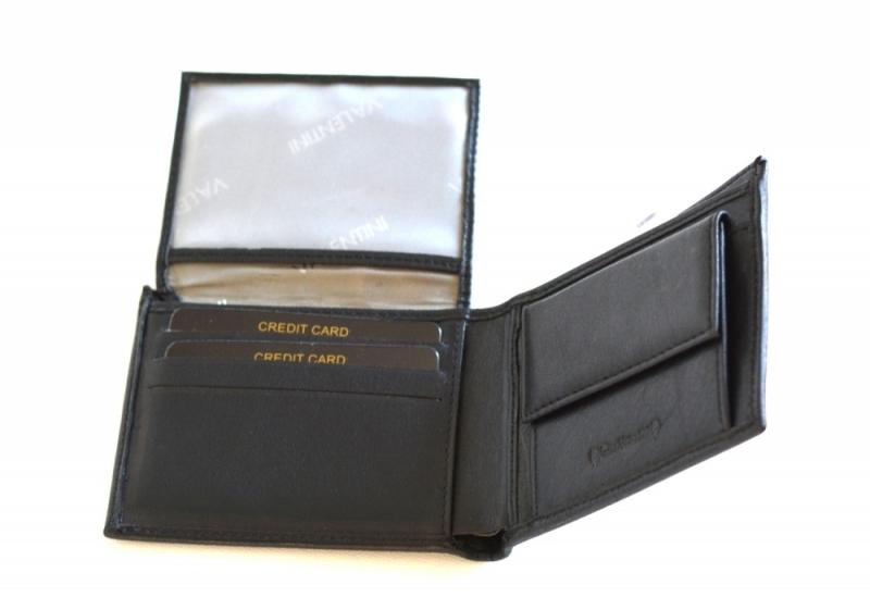 0ce9153b4a7 Valentini Pánská peněženka na šířku kožená klasická dokladová černá