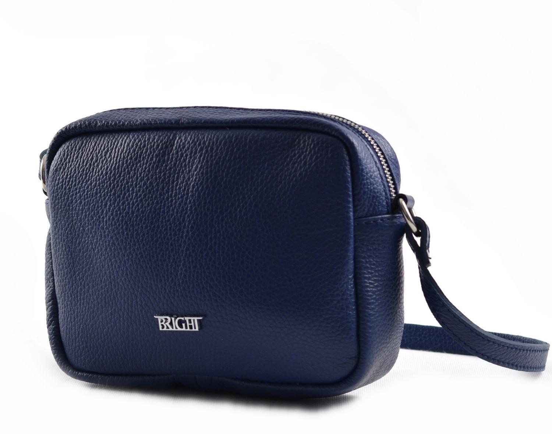Bright Dámská kapsa klasická hladká kožená tm. modrá