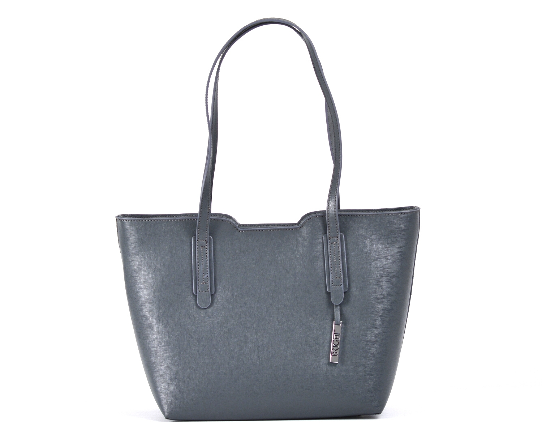 Bright Elegantní kabelka větší A5 kožená přes rameno tm.šedá