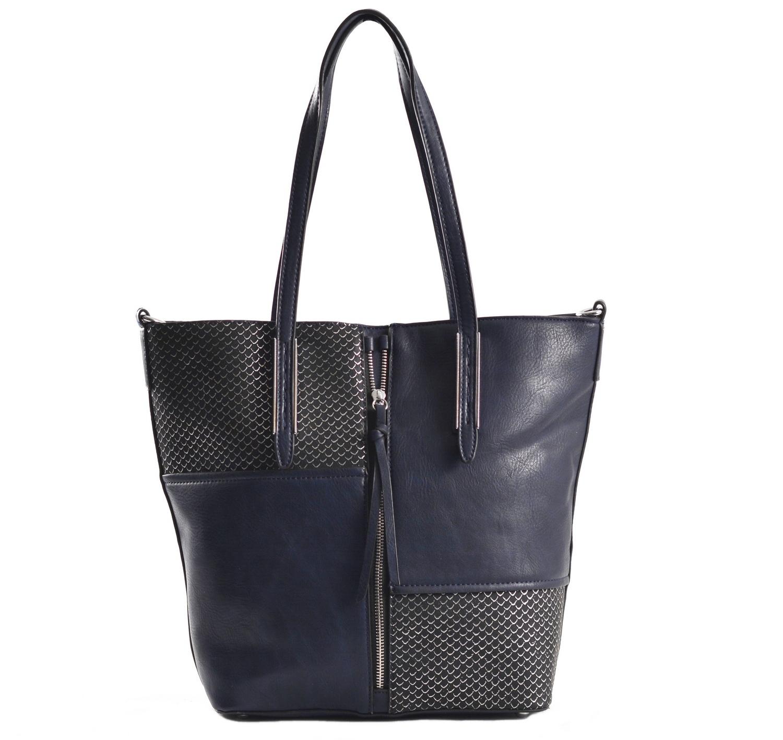 Krásná Bright kabelka na výšku velká A4 s šupinkami modrá