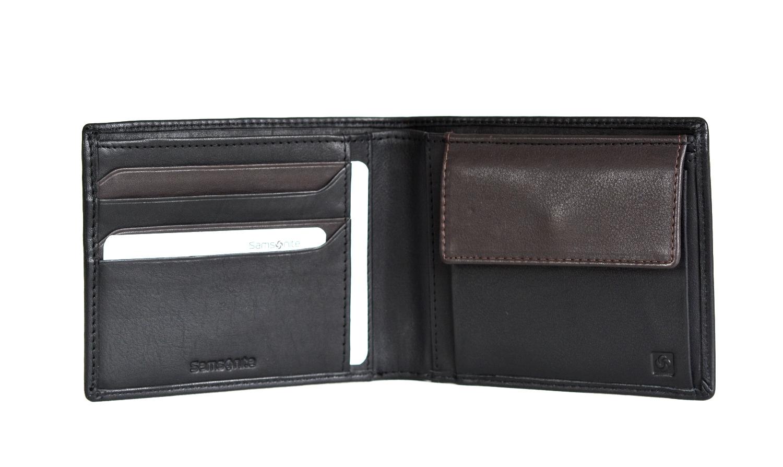 Levně Samsonite pánská peněženka kožená NYX 3 jednoduchá černo-hnědá, 12 x 1 x 10 (68N09015)