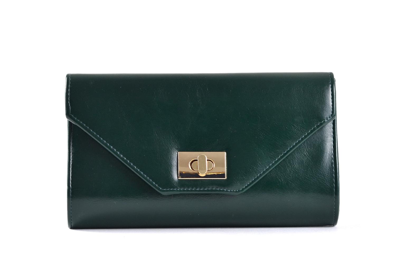 Společenská kabelka - psaníčko s klopnou syntetická tm. zelená