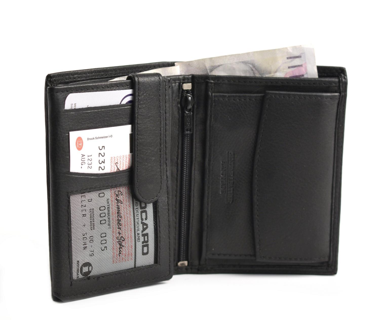 Levně BRIGHT Pánská kožená peněženka na výšku Černá, 10 x 19 x 12 (KP00-P15097-09KUZ)