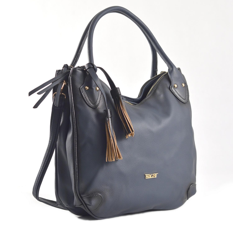 Fashion Bright Kabelka A4 se střapcem a 2 zipové kapsy tmavě modrá