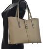 BRIGHT Klasická kabelka kožená přes rameno hladká A4 Handbag růžová