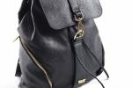 Bright Batoh dámský stahovací kožený A4 Backpack světle modrý
