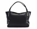Bright Fashion dámská kabelka měkká kožená velká A4 černá