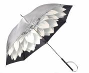 """Pasotti Luxusní dámský deštník holový """"Květ"""" mechanický stříbrný"""