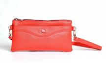 Bright Kabelka/pouzdro/etue 3v1 lesklá s kapsou a přepážkou červená