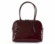 Bright krásná kabelka kožená A4 se vzorem laková bordó