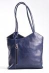 Kabelko-batoh dámský na záda i přes rameno A5 kožený modrý