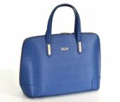 BRIGHT Fashion kabelka A4 hladká s 3/4 zipem kožená modrá