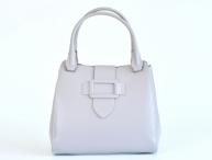 Bright Elegantní dámská kabelka kožená A4 do ruky perleťová šedá