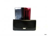BRIGHT dámská peněženka s velkou zipovou vnější kapsou hladká kůže (zlatý štítek) černá