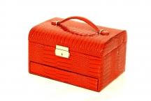 BRIGHT Šperkovnice 3 patra box velká vybavená kroko červená