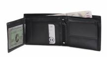 Bright Pánská peněženka kožená rozkládací na šířku prošívaná černá