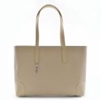 BRIGHT Elegantní kabelka kožená vzorovaná na dokumenty béžová