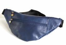Ledvina kožená kolem pasu klasická s 2 zipy modrá
