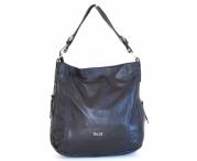 Kožená kabelka vak A4 rozšiřovatelná měkká modrá
