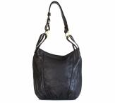 Kožená dámská kabelka větší A5 přes rameno hladká černá