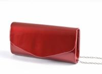Společenská kabelka klasické psaníčko lakové tmavě červená