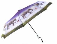 H.DUE.O Deštník dámský skládací vystřelovací Slon šedo-fialový