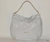 GILDA TONELLI Luxusní kabelka kožená přes rameno měkká světle šedá