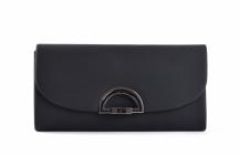 Společenská kabelka - psaníčko s klopnou syntetická černá