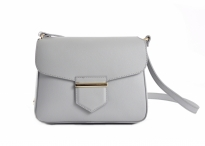 Bright Dámská kabelka menší s klopnou kožená šedá