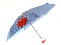 H.DUE.O Deštník dámský mini skládací s kostičkami a kytkou modrý
