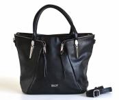 Bright Fashion kabelka skládaná A4 se zipy černá