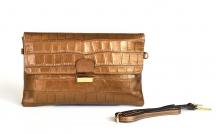 BRIGHT kabelka - psaníčko kožená XL kroko se zámečkem bronzová