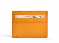 Unisex kožené pouzdro na doklady (dokladovka) a karty žluté