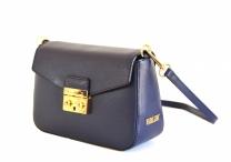 Elegantní kožená společenská kabelka menší se zámečkem modrá