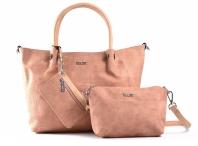 Bright Fashion velká kabelka 3v1 (kapsa a pouzdro) žíhaná A4 růžová