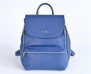 BRIGHT Dámský batoh kožený matný s ozdobnými zipy A4 modrý